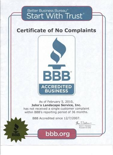 better business bureau certificate